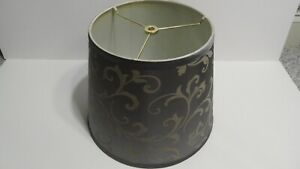 Gray Drum Lampshade Gold Velour Damask Floral Decoration 12 in height READ