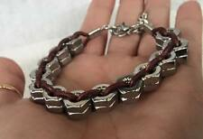 Handmade Men's Hex Nut Bicycle Chain Style Woven Leather Bracelet Jewelry