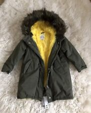 New Zara Girls Olive Green Fur Lined Hooded Parka Coat Size 7 Years