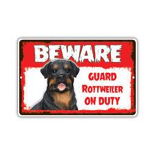 Beware Guard Rottweiler Dog On Duty Novelty Aluminum Metal 8x12 Sign