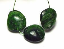3 pcs CHROME DIOPSIDE Green 16-17mm Nugget Focal Beads NATURAL /N4
