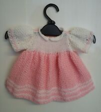 Pretty Hand-knitted Large Doll or Medium Teddy Dress. Pink. White. Reborn. New.