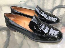 Salvatore Ferragamo Women's Black Patent Leather Slip On Shoes Size 8 B Loafers