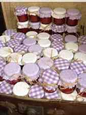 JAM tops fabric wedding favour (will fit 1oz 1.5oz 42g jars lilac/ivory/mix X 25