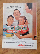 1955 Kellogg's Variety Pack Cereal Ad How to Settle all Breakfast Arguments