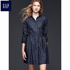 NWT Gap Classic Dark Shirt Denim Dress Dress Belted SZ 14  #718619