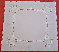 "VINTAGE CHRISTMAS DECORATION CANDLES CUT EMBROIDERY WHITE COTTON 35""TABLECLOTH"
