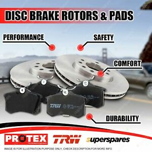 Protex Front Brake Rotors + TRW Pads for Fiat 500 1.4L MPI 16V 2007-on