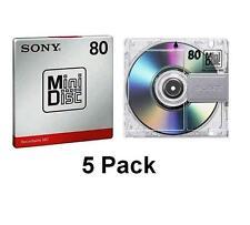 5 x SONY MINI DISC MD80 registrabile 80 Min-Nuovo di Zecca