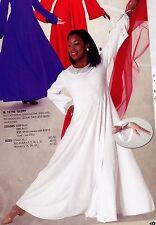 NWT Praise Dress Church Dance Sequin Trim collar cuffs wrist straps white XLA