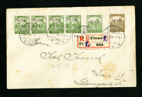 Fiume Registered Cover with 6x Stamps