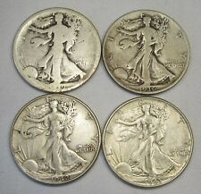 US Walking Liberty Silver Half Dollar Coin Lot of 4 1919-1943 AG170