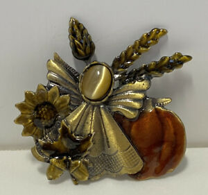Vintage Kenneth Cole Costume Jewelry Enameled Fall Pumpkin Harvest Pin Brooch