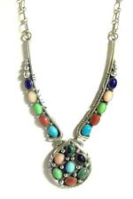 Cluster Necklace by Patrick Yazzie Navajo Sterling Silver Turquoise Multi-Gems