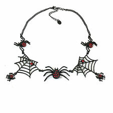 Gothic Spider Web Choker With Red Rhinestones Necklace Deathrock Halloween