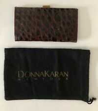 New  DONNA KARAN COLLECTION Burgundy Authentic Crocodile Wallet Italy-Sample