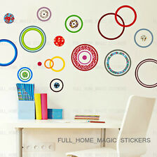 Colorful Circles Wall Stickers Art Decal Mural Paper Decor Home DIY Peel & Stick