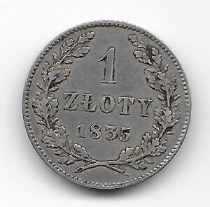 KRAKOW (Poland)  1 zloty 1835  SILVER  KM# 13  VF+  SCARCE!