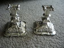 SET OF 2 LOVELY ORNATE SILVER PLATE CANDLE HOLDERS