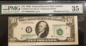 Series 1990 $10 FRN misalignment error PMG 35 EPQ
