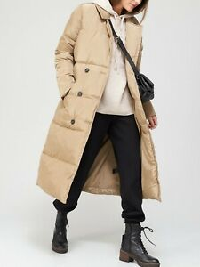 V by Very Premium Double Breasted  Padded Puffer Coat - Stone Size 16 BNWT