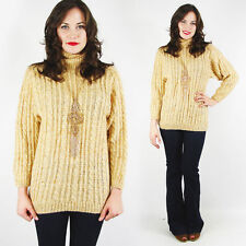 Vintage 70s Yellow Fisherman Cable Hand Knit Wool Turtleneck Sweater Jumper S