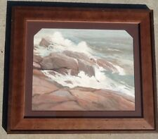 Old watercolor painting New England (Maine?) seascape by NF Beacham