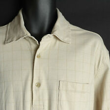 Tommy Hilfiger Check Polo Shirt Men XL Long Sleeve Soft Cotton Paisley Flip Cuff
