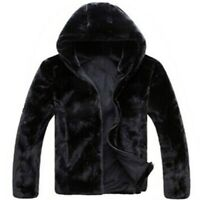 Men's Faux Mink Fur Jacket Short Overcoat Hooded Jacket Slim Fit Warm Outwear