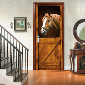 Popular DIY 3D Door Sticker Mural Horse Stall Western Waterproof Wallpaper Gift