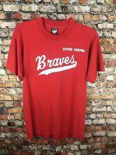 Vintage 80s Atlanta Braves Red Score Keeper Screen Stars Shirt 50/50 VTG Small @