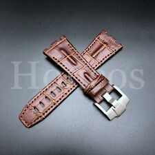 28MM Alligator Leather Watch Band Strap Fits For AP Audemars Piguet Brown 42 USA