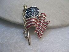 "U.S.A. Monet Flag Brooch, ""United We Stand"", 2001, Enameled with Rhinestones"