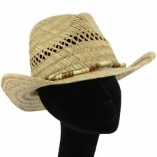 STRAW COWBOY HAT LEATHER & BEADS BAND & SHAPEABLE BRIM