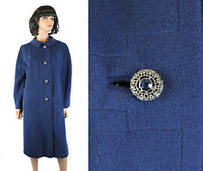 Vintage 60s Coat Sz L Soft Cashmere Mink Dark Blue Long Rhinestone Button Trench