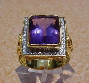 Fashion 18K Gold Rings Amethyst Charm Women Wedding Jewelry Ring Gifts Size 6-10