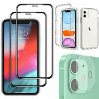 For iPhone 12/Mini/Pro Max Glass Screen Protector+Camera Lens Film+Case Cover