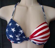 American Flag Push up Halter Bikini Top Americana Patriotic swim Xhilaration XS