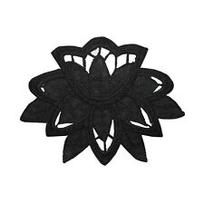 ID 6970 Black Daffodil Lace Outline Flower Iron On Embroidered Patch Applique