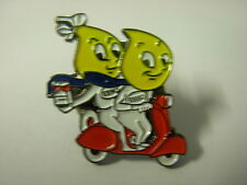 Esso advertising pin badge. 2 flames on scooter. Vespa Lambretta.