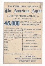 1893 UX11 Postal Card, Prospect Ohio Advertising The American Agent 25c per Line