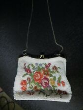 Vintage Antique 1900s-1920s Art-Deco Multi-Colored Beaded And Metal Purse