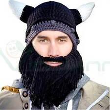 Cappello caldo adulto maglia VIKINGO BARBUTO corna barba NERO maschera vichingo