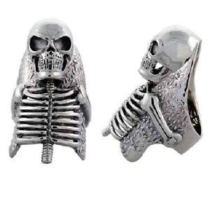 Heavy Sterling Silver Skeleton Skull Biker Ring