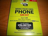 Straight Talk AT&T Nano Micro Standard Sim Card Bring Your Own Phone Kit