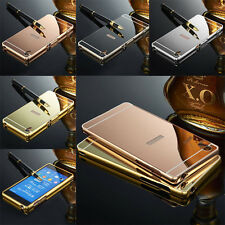 Luxury Thin Mirror Back Cover + Metal Aluminum Frame Case For Sony Xperia Phones