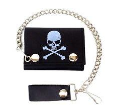 Biker Chain Wallet Skull & Crossbones Trifold Black Leather Trucker USA Made