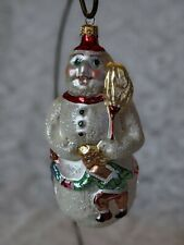 Christopher Radko Snowman With Little Kids Holding Hands And Dancing Ornament