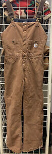 Vtg Women's Carhartt Brown Insulated Utility Work Overalls Size 8x30