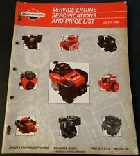 1990 BRIGGS & STRATTON SERVICE ENGINE SPECIFICATIONS & PRICE LIST MANUAL (920)